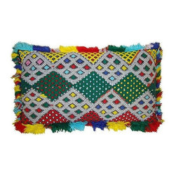 Moroccan Sham with Diamond Pattern - This fun and bright handwoven pillow sham with an elaborate diamond pattern is from the Zemmour tribe in the Middle Atlas mountains of Morocco. Zipper closure. Price is for the sham only, insert is not included.