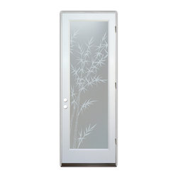 Sans Soucie Art Glass (door frame material Plastpro) - Glass Front Entry Door Sans Soucie Art Glass Bamboo Forest Private - Sans Soucie Art Glass Front Door with Sandblast Etched Glass Design. Get the privacy you need without blocking the light, thru beautiful works of etched glass art by Sans Soucie!  This glass is semi-private.  (Photo is view from outside the home or building.)  Door material will be unfinished, ready for paint or stain.  Bronze Sill, Sweep and Hinges. Available in other sizes, swing directions and door materials.  Dual Pane Tempered Safety Glass.  Cleaning is the same as regular clear glass. Use glass cleaner and a soft cloth.