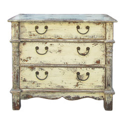 Golden Lotus - Rustic Yellow Cream Lacquer Three Drawers Dresser Cabinet - This is an old cabinet with extra detail job on the side edge and repainted with rustic yellow cream lacquer color.