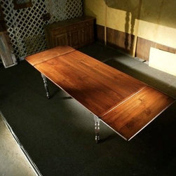 Large Extension Farm Table With Brown Cherry Finish - Made by www.ecustomfinishes.com