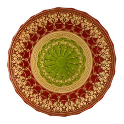 """Traders and Company - Hand-Painted Red, Gold & Green Embossed Glass Platter, 13""""D - Rococo - Inspired by the decorative style of the bejeweled mosaics of Byzantine.  These rich colored plates and bowls have been adapted to express the mystic character of the Byzantium Empire. Alternate shapes & styles sold separately. Hand wash only; not for use in dishwasher, microwave, or oven."""