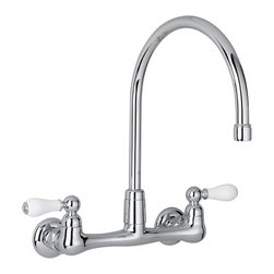 American Standard - Heritage Wall-Mount Kitchen Faucet with Gooseneck Spout and Porcelain Lever Hand - American Standard 7293.252.002 Heritage Wall-Mount Kitchen Faucet with Gooseneck Spout and Porcelain Lever Handles in Polished Chrome . Offering crisp, clean lines and a vintage look, the American Standard Heritage 2-Handle Kitchen Faucet in Polished Chrome offers precise control over the water temperature and flow rate. Finished in polished chrome for a clean, sophisticated look, the faucet has a brass gooseneck swivel spout that accommodates even deep pots.American Standard 7293.252.002 Heritage Wall-Mount Kitchen Faucet with Gooseneck Spout and Porcelain Lever Handles in Polished Chrome, Features:Polished chrome provides your kitchen with a clean, polished look
