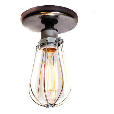Junkyard Lighting - 2 Industrial Bare-Bulb Caged Light Ceiling Flush Mount/Wall Sconce - This listing is for 2 Industrial Bare Bulb Caged Light Ceiling Flush Mount / Wall Sconce