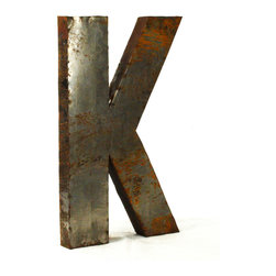 """Kathy Kuo Home - Industrial Rustic Metal Large Letter K 36""""H - Create a verbal statement!  Made from salvaged metal and distressed by hand for an imperfect, time-worn look."""