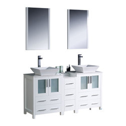 "Fresca - Fresca Torino 60"" Modern Double Sink Bathroom Vanity w/ One Side Cabinet & Two V - Fresca is pleased to usher in a new age of customization with the introduction of its Torino line. The frosted glass panels of the doors balance out the sleek and modern lines of Torino, making it fit perfectly in either Town or Country dcor."