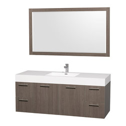 Wyndham Collection - Amare Bathroom Vanity in Grey Oak, White Acrylic Resin, Mirror - Modern clean lines and a truly elegant design aesthetic meet affordability in the Wyndham Collection Amare Vanity. Available with green glass , acrylic resin or pure white man-made stone counters, and featuring soft close door hinges and drawer glides, you'll never hear a noisy door again! Meticulously finished with brushed Chrome hardware, the attention to detail on this elegant contemporary vanity is unrivalled.