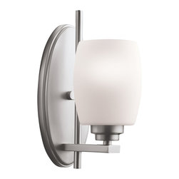BUILDER - BUILDER Eileen Modern / Contemporary Bathroom / Vanity Light X-IN6905 - This Kichler Lighting wall sconce from the Eileen Collection pairs traditional shapes and organic, fluid lines with contemporary finishes. From the white etched glass shade to the Brushed Nickel finish, this sconce is perfect for updating any bathroom or powder room. May be installed as an up or down light. U.L. listed for damp locations.