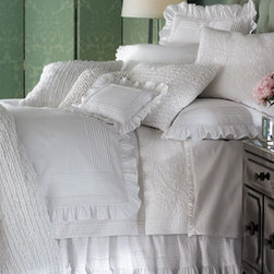 """Pine Cone Hill - Pine Cone Hill Twin Rosary Quilt, 68"""" x 86"""" - White on white provides a perfect canvas for a play of textures and subtle patterns in this collection of bed linens. Imported. Pieced duvet covers and accessories have netting insets. Ruffled dust skirts have an 18"""" drop. Curtains with vertical ru..."""