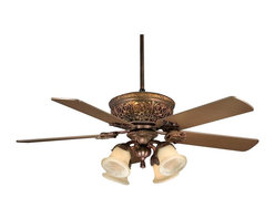 "Karyl Pierce Paxton - Karyl Pierce Paxton KP-52-100-MO-52 Empire 52"" Traditional Ceiling Fan - The Empire fan has a wonderful leafy floral design adorning the top rim of the fan while the exquisite scrollwork softens the cream marble accent light. The cream marble downlights on the optional light kit are cupped with leaves creating a feeling of flo"