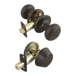 DHI-Corp - Cambridge 2-Way Latch Deadbolt and Entry Door Knob, Adjustable Backset - The Design House 701813 Cambridge 2-Way Latch Deadbolt and Entry Door Knob is often used on front doors and back doors. Finished in oil rubbed bronze and designed for left or right hand doors, this knob and deadbolt fit the two most common backsets in the U.S. (backset is the distance from the edge of the door to the center of the bore hole), which are 2-3/4-inch and 2-3/8-inch. The 1/2-inch latch bolt is plated in nickel and does not budge once in place. Use this knob on standard 1-3/8-inch and 1-3/4-inch thick doors. This product has a 1-inch by 2-1/4-inch radius corner face plate and 5-pin security. If you are preparing your door for installation, the cross bore should be 2-1/8-inches in diameter and the edge bore should be 1-inch in diameter. This product is ANSI Grade-3 certified, which means this knob is rated for residential security. The Design House 701813 Cambridge 2-Way Latch Deadbolt and Entry Door Knob comes with a limited lifetime mechanical warranty and a 5-year finish warranty that protect against defects in material and workmanship. Design House offers products in multiple home decor categories including lighting, ceiling fans, hardware and plumbing products. With years of hands-on experience, Design House understands every aspect of the home decor industry, and devotes itself to providing quality products across the home decor spectrum. Providing value to their customers, Design House uses industry leading merchandising solutions and innovative programs. Design House is committed to providing high quality products for your home improvement projects.