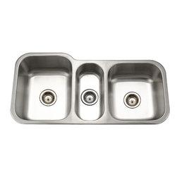 Houzer - Houzer MGT-4120 Triple Bowl undermount Sink with 2 Strainers - Houzer stainless steel kitchen sink Undermount, 18 gauge Medallion Gourmet Triple Bowl