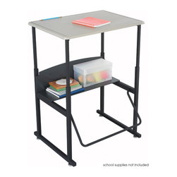 """Safco - AlphaBetter Desk, 28 x 20 Standard Top, without Book Box - With the AlphaBetter Desk students have a new desire to learn. Designed for students in grades 3-12, the AlphaBetter Desk easily adjusts from 26"""" to 42"""" high to allow students the choice to stand or sit while in the classroom. With our exclusive patented Pendulum Footrest Bar students have a new way to sway! The footrest allows students to swing their feet providing extra movement to burn off excess energy. In addition it helps to correct posture. The steel frame with Black powder coat finish is built for long lasting durability. The MDF top is covered with extremely durable Beige 3D thermoplastic laminate. Lower shelf provides additional storage of books and supplies.; Features: Material: Steel (Base), 5/8"""" MDF - Medium Density Fiberboard (Top), 1/4"""" Phenolic (Shelf); Finished Product Weight: 33 lbs.; Assembly Required: Yes; Tools Required: Yes; Limited Lifetime Warranty; Dimensions: 28""""W x 20""""D x 26"""" to 42""""H"""