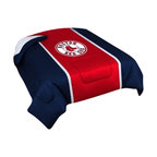 "Zappysales - Boston Red Sox Sidelines Comforter Queen - Comforter Full/Queen 86"" x 86"". Covers are 100% Polyester Jersey top and bottom side, filled with 100% Polyester Batting. Logos are screenprinted. Machine washable in warm water, and tumble dry on low heat."
