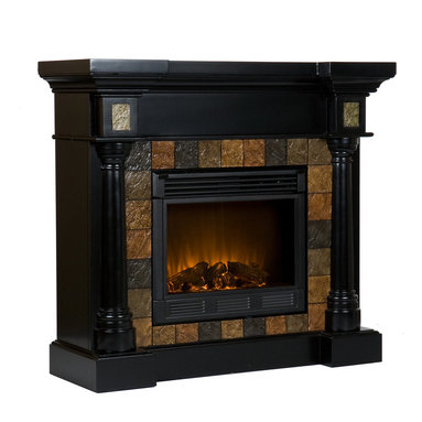 Holly & Martin - Weatherford Convertible Electric Fireplace, Black - Dark earth tone faux slate tiles surround the firebox on this black fireplace mantel to create a look that is unbeatable. Rounded columns on either side of the firebox are topped off with square tiles, adding cohesion to the design. This versatile fireplace is complete with a collapsible panel, making it easy to place against a flat wall or in a corner. Requiring no electrician or contractor for installation allows instant remodeling without the usual mess or expense. In addition to your living room or bedroom, try moving this fireplace to your dining room for a romantic dinner or complement your media room with a vent less fireplace below your flat screen television. Use this great functional fireplace to make your home a more welcoming environment.