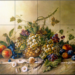 The Tile Mural Store (USA) - Tile Mural - Fruit Bouquet Ii - Kitchen Backsplash Ideas - This beautiful artwork by Corrado Pila has been digitally reproduced for tiles and depicts a nice colorful fruit mural.  Our kitchen tile murals are perfect to use as part of your kitchen backsplash tile project. Add interest to your kitchen backsplash wall with a decorative tile mural. If you are remodeling your kitchen or building a new home, install a tile mural above your stove top or install a tile mural above your sink. Adding a decorative tile mural to your backsplash is a wonderful idea and will liven up the space behind your cooktop or sink.