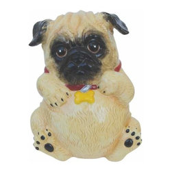 WL - 8 Inch Cream and Black Pug Dog with Red Collar Ceramic Money Bank - This gorgeous 8 Inch Cream and Black Pug Dog with Red Collar Ceramic Money Bank has the finest details and highest quality you will find anywhere! 8 Inch Cream and Black Pug Dog with Red Collar Ceramic Money Bank is truly remarkable.