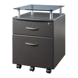 Techni Mobili - Techni Mobili Rolling Glass Top File Cabinet in Graphite - Rolling Glass Top File Cabinet in Graphite by Techni Mobli The Techni Mobili Rolling Glass Top File Cabinet features a heavy-duty 8 mm tempered safety glass shelf on scratch-resistant powder-coated steel supports. This stylish pedestal with a locking top drawer and a lower hanging file drawer provides secure storage. 5 casters offer additional support and easy mobility. It is made with heavy-duty engineered wood panels with a moisture resistant PVC laminate veneer. Locking mechanism locks all drawers of cabinet.  File Cabinet (1)
