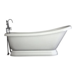 "Baths of Distinction - Hotel Collection 67"" Single Slipper Pedestal Bathtub/Faucet Package - Package consists of an absolutely breathtaking 67 single slipper pedestal bathtub along with hardware including faucet with handheld shower, drain with lift off stopper, and straight supply lines all in chrome.  Bathtub is made of CoreAcryl acrylic with a resin/powdered stone filler.  Bathtub has a built in aluminum hear barrier within the tub body."