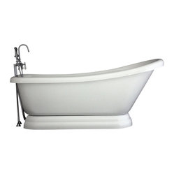 "Hotel Collection 67"" Single Slipper Pedestal Bathtub/Faucet Package"