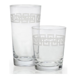 Z Gallerie - Greek Key Barware - Set of 4 - Embellish your tablescape with classically inspired design with our Greek Key Barware. Crafted out of soda glass, sand blasted etched detailing, in the shape of Greek Keys, circumnavigates each piece for an added layer of luxe. Sophisticated and chic, our Greek Key Barware is a stunning complement to a wide variety of tablescapes and décor settings. Layer with refined bar accoutrements for a highly stylized complementary pairing, or consider pairing with white dinnerware for an effortlessly layered look. Sold separately in sets of four.