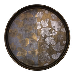 Madera Home - Arian Gilded Tray - These unusual trays are something special. Originally oil drum lids, they have been repurposed and hand painted by our resident artist Feng Shan. Dotted with delicate gold and silver leaves they are versatile as well; use them as serving trays or hang them on the wall. Rugged and refined, they are beautiful in any space. Note: Tray is not food safe.