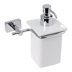 Gedy - Wall Mounted Porcelain Soap Dispenser With Chrome Mounting - Contemporary style wall mount square hand soap dispenser.