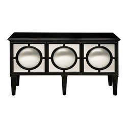 Sterling Industries - Mirage Sideboard Ebony - Impressive sideboard with plenty of storage/Shelving. The round convex mirrors on each of three doors reflect the entire room and make every space sparkle adding real drama to this remarkable piece.