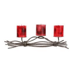 Stone County Iron Works - Rush Renaissance Natural Black Candleholder 3 Candles - Stone County Iron Works 901-666 Rush Renaissance Natural Black Lodge/Rustic Candleholder