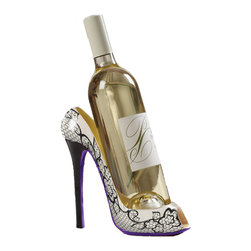 Meridan Point At Home - High Heel Shoe Wine Bottle Holder - White Design - Add elegant styling to your home with this wine bottle holder in the shape of a high heel shoe. Holds a standard 750ml bottle of your favorite wine(Wine Not Included). Looks great on your counter-top and makes a great gift.  White Design.
