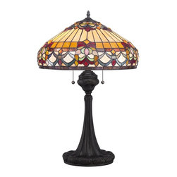 Quoizel - Quoizel TF1511TVB Howell Tiffany Table Lamp - Elegant Tiffany style is a timeless staple of home decor.  The various designs are handassembled using the copper foil technique developed by Louis Comfort Tiffany.  With an enormous variety of colors and patterns to choose from, Quoizel Tiffany�۪s have become more popular than ever.