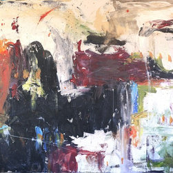 In Color, Original, Painting - Abstract Acrylic painting featuring bold swaths of color and layers, providing texture and depth.