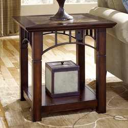 "Hammary - Vecchio Square End Table in Mid-Tone Brown Finish - ""Even as Hammary's stirring new """"Vecchio"""" collection fills your home with modern-day beauty, its unique design will transport you back to serene, simpler times. A childhood home, a grandmother's kitchen - the dearest places frozen in our memories come to life in this design."