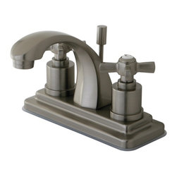 """Kingston Brass - Kingston Brass Millennium Satin Nickel 4"""" Centerset Lavatory Faucet KS4648ZX - This traditional centerset faucet with its faceted base and  """"J"""" spout  will work well with most traditional or transitional d_cors, manufactured from solid brass this faucet features ceramic cartridge for long lasting performance.. Manufacturer: Kingston Brass. Model: KS4648ZX. UPC: 663370283956. Product Name: Kingston Brass Millennium 4"""" Centerset Lavatory Faucet, Satin Nickel. Collection / Series: Millennium. Finish: Satin Nickel. Theme: Modern. Material: Brass. Type: Lavatory Faucet. Features: Max 2.2GPM/8.3LPM At 60 PSI"""