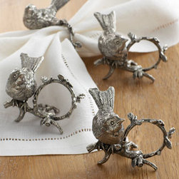 "Vagabond House - Vagabond House ""Song Bird"" Napkin Rings - Darling little birds perch on a detailed pewter branch curved into a perfect napkin ring. Sold as a set of four. 3""Dia. x 3""T. Imported."