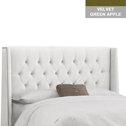 """Home Decorators Collection - Custom Blakely Upholstered Bed - Our elegant Custom Blakely Upholstered Bed features a solid pine frame, metal legs and your choice of upholstery. The diamond tufted pattern on the headboard brings a sense of sophistication to any bedroom. Includes button tufting. Fits standard high-profile 9"""" box spring. Steel bed frame. Includes hardware and instructions. Assembled to order in the USA and delivered in 4-6 weeks. Spot clean only."""