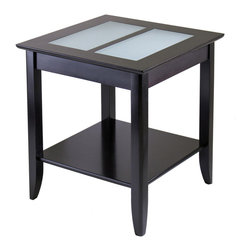 Winsome Wood - Winsome Wood Syrah End Table w/ Frosted Glass - End Table w/ Frosted Glass belongs to Syrah Collection by Winsome Wood Elegant End Table is the perfect fit for any home. Featuring a rich espresso finish, two frosted glass tiles inlaid in the table top and a convenient storage shelf. Made of Solid beechwood. Assembly Required End Table (1)
