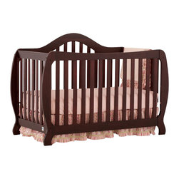 Stork Craft - Stork Craft Monza 2-in 1 Fixed Side Convertible Crib in Cherry - Stork Craft - Cribs - 04587314 - A throwback to the retro modern design era of the mid-twentieth century the Monza I Fixed Side Convertible Crib by Stork Craft Furniture is sure to be a welcome addition to your nursery.This crib features a unique retro curve on the back and a dipped curve along the front allowing effortless access to your baby. The clean detailing and bowed posts create a truly striking piece. All four sides are stationary and include an adjustable three position mattress support base to add to the security and stability of this epoch crib. This crib will grow with your child as it converts from a standard crib to a full-size bed (full size bed rails not included).  This piece is made of solid wood and wood products offered in a selection of non toxic durable finishes. Set-up this modern work of art with ease by following the simple easy to follow assembly instructions provided by Stork Craft. Complete your nursery look by adding a Stork Craft changing table chest dresser or glider and ottoman.
