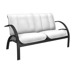 Homecrest - Homecrest Bellaire Mid Back Loveseat - B4260-03-JASPER - Shop for Chairs and Sofas from Hayneedle.com! You could make a case that the Homecrest Bellaire Mid Back Loveseat isn't the first time that one would be able to enjoy a loveseat outdoors but that time you dragged your mother's couch onto the patio while she was out of town doesn't count. No this piece is designed for the outdoors but it's bringing the comfort of the indoors with it. Those wonderfully atomic-age curves support a wide aluminum frame that's finished in the powder-coat color of your choice. Aluminum is naturally rust-resistant and the powder-coat adds an extra layer of protection against Mother Nature's assault. The thick cushions have an exterior of layered outdoor fabric over a plump foam-filled interior. The outdoor fabric is offered in a wide selection of colors so don't hesitate to look around and find the combination that creates the look that you'll love to share.About Homecrest:The Homecrest brand was founded in 1953 as the offspring of a retail furniture shop in Wadena Minnesota when Mert Bottemiller and Al Engelmann set out to offer the market a better ottoman than those offered by their competitors. This venture soon led to their first line of patio furniture and in 1956 Bottemiller patented the swivel rocker mechanism that is still a central part of the products they produce today from their plant in Minnesota. For almost 60 years the Homecrest brand has been the go-to name for quality outdoor furniture when customers want a sophisticated versatile style that complements their interior decor and expands their lifestyles outside.