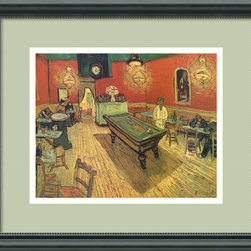 """Amanti Art - The Night Cafe, 1888 Framed Print by Vincent Van Gogh - Experience the emotion evoking """"The Night Café"""" by Van Gogh as it lives on your wall. All walks of life welcome — lovers, friends, lonely hearts — waiting to have some great conversation and perhaps a game of pool. The rich and warm colors of the print are offset beautifully by the custom frame and pale laurel mat. It arrives at your door ready to hang and enjoy."""