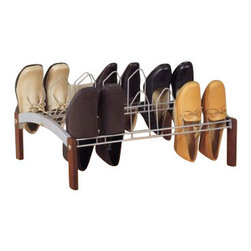 Organize It All - Espresso 9 Pair Shoe Rack - Our Espresso nine pair shoe rack is a simple, small sized shoe rack that serves its basic shoe storage need. Offered in an espresso finish with silver colored wire shoe holders this shoe rack can help organize a messy pile of shoes into a nicely organized pile. This rack fits nicely into any room of the house or closet. It can hold up to nine pairs of shoes.