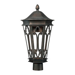 Capital Lighting - Capital Lighting Townsende Transitional Outdoor Post Lantern X-BO5449 - Elegant curls and European influencing create this eye-catching Capital Lighting outdoor post lantern. From the Townsende Collection, the fine details of the pattern make it a more elegant addition to your traditional outdoor lighting scheme. The classic tapered lantern body has been finished in a classy Old Bronze hue that highlights the traditional elements, pulling the look together.