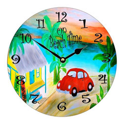 USA - Beach Bug Wall Clock - Enjoy passing time with my dye sublimated art work on a beautiful 11.25'' hard board clock with a wonderful glossy finish. Clocks are a durable 1/4 '' thick and require a AA battery not included. Made in the USA.