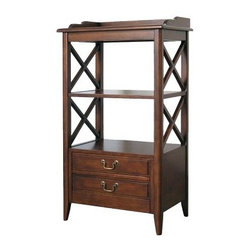 Wayborn Eiffel Rack - The Wayborn Eiffel Rack has two open shelves that provide ample space to store books, collectibles, and other items. This rack has cross-bars on the side that gives it a traditional allure. Two pull-out drawers, with metal handles, are provided to keep items in a dust-free environment. Made of solid birch wood and birch veneer, this rack has a smooth, stained finish that gives it an elegant and stylish appeal.