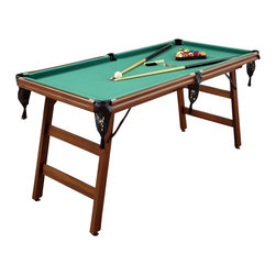 Home Styles - Home Styles The Real Shooter 6-Foot Pool Table - Home Styles - Multi-Game Tables - 596798 - Bring on the competition with this classic game of Billiards! The Real Shooter 6-Foot Pool Table is the perfect set for a player of any skill set.  Table is constructed from engineered wood and plywood frames in a cherry vinyl wrap finish.  Features include rubber bumpers green felt top cover woven drop-style nylon pockets and levelers on the feet.  The space saving design allows for the legs to easily fold and store anywhere.  This set includes two cues full-sized set of balls brush chalk and triangle rack.  Whether youre a pro or an amateur dont miss out of this versatile real action play pool table!