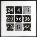 Salvatecture Studio - Framed Set of Nine Vintage Tin Court Numbers - Your days may not be numbered, but this retro piece of art sure is. It's neutral colors give it limitless design possibilities.
