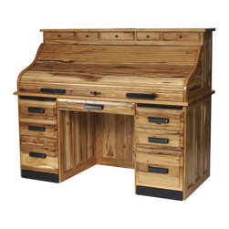 Holmes Office Collection Rolltop Desk with Optional Drawers - One desk, endless options! This gorgeous rolltop desk offers tons of customized options, so your new desk will perfectly blend in with your existing home office, study or library's decor. Tons of drawers, compartments and surface space to work with, along with your choice of hardwood, hardware, stained finish and size!