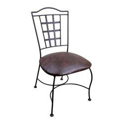 San Jose Iron Dining Chair - San Jose Iron Dining Chair. Solid Iron Dining Chair with faux leather cushion and traditional block design. This is a Very cool solid iron dining chair that will compliment any Spanish Colonial, Southwest, or Rustic Home decor Style. Chairs are sold in pairs Only. Price is per chair.