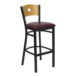 Flash Furniture - Flash Furniture Hercules Series Black Circle Back Metal Restaurant Barstool - This heavy duty commercial metal bar stool is ideal for restaurants, hotels, bars, pool halls, lounges, and in the home. The lightweight design of the stool makes it easy to move around. The tubular foot rest not only supports your feet, but acts as an additional reinforcement that helps secure the legs. This stool will keep you comfortable with the easy to clean vinyl upholstered seat. You will not regret the purchase of this bar stool that is sure to complement any environment to fill the void in your decor. [XU-DG-6F6B-CIR-BAR-BURV-GG]