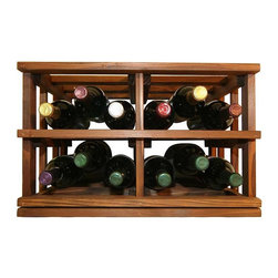 "Wine Cellar Innovations - 15 Bottle Bin Storage in Dark Walnut Stain - Mini Stack Series - Introducing the Mini Stack Series, our first line of Fully Assembled stackable wine racks! Mix and match these 5 racks in various configurations to achieve a look that you desire. Whether it be individual bottle, case, or open bin storage you are after, pair these stacking racks with a matching glass rack to achieve your own wine storage station. Stylish enough for display anywhere in your home or business, these solid wood stackable wine racks boast a contemporary dark stain finish, and are designed to be stacked side by side and on top of one another for up to ten feet in height. You will need to leave a 13 1/2"" gap where you want these stackable wine racks to come together in a corner."
