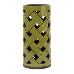 iMax - iMax Morelia Large Cutwork Lantern X-85181 - In a moss toned finish, the Morelia ceramic lantern features a lattice pattern handcrafted cutwork bodice great for pillar candles.